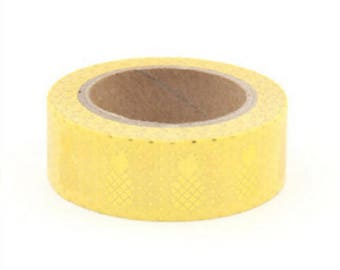 Washi tape pineapple golden yellow background 10 m - Washi tape with pineapple