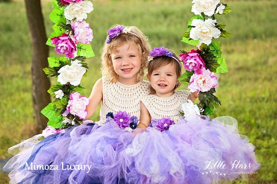 Ivory Lavender Flower girl dress, tutu dress bridesmaid dress, princess dress, crochet top tulle dress, knit top tutu dress lavender lilac