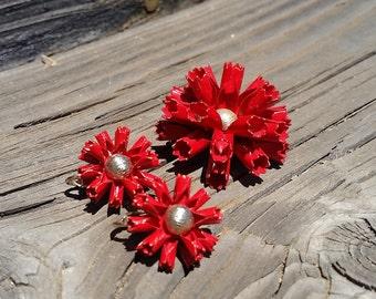 Vintage Bergere Metal Enamel Flower Clip Earrings & Brooch