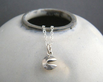 """tiny sterling silver fortune cookie necklace. good luck charm petite food pendant 3D small simple delicate dainty everyday jewelry gift 1/4"""""""