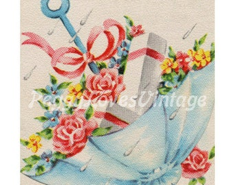 Wedding 32 a Shower Parasol filled with Presents a Digital Image from Vintage Greeting Cards - Instant Download