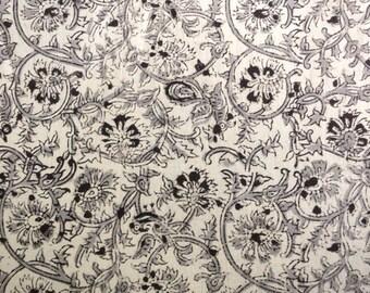Natural Fabric Kalamkari HandPrinted Floral Print Fabric sold by Yard