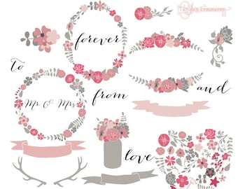 50% OFF SALE! Instant Download - Mod Flowers in Pink and Grey: Digital Clipart Set