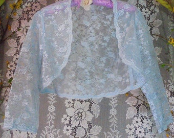 Pale blue shrug wrap  vintage wedding rustic shabby  bohemian small   by vintage opulence on Etsy