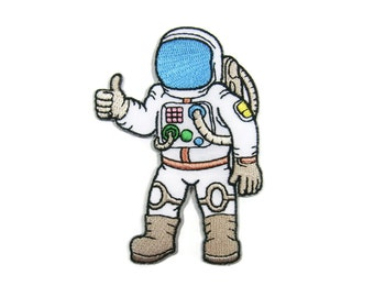 Spaceman Astronaut NASA Thumbs up Embroidered Applique Iron on Patch 6.2 cm. x 8.7 cm.