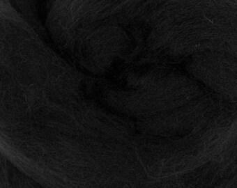 Extra Fine Merino Wool Roving / Combed top - Black/ Dark (DHG) 4 oz