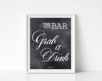 Bar Decor - Grab a Drink - Bar Sign -  Chalk Art - Hand Lettered Print -  Chalkboard Art -  Party Decor