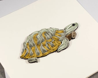 3D Blank Quilled Turtle Turtoise Animal Card