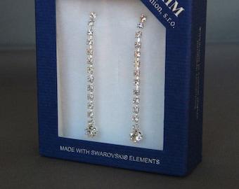 Vintage Bohemia MHM Swarovski Crystal Earrings Long Dangle Drops Pierced, Wedding Bridal Earrings, Christmas Gift