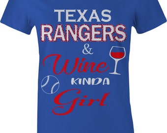 RANGERS BASEBALL Ladies Shirt Glitter bling womens Blue RED Texas black gold diva gift clothing wine kinda girl