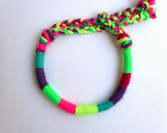Neon friendship bracelet, Color block, Fluo bracelet, Yarn bracelet, Stackable bracelet, Neon yellow, Neon green, Hot pink, Hippie jewelry