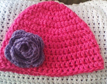 Handmade Crocheted Women's Super Soft Beanie Hat Simply Soft Hot Pink Lavender Rose Accented