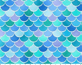 Mermaid Wishes Scales - Blue Silver Metallic 21963-44 by Northcott Cotton Fabric Yardage