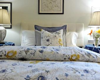 Twin Queen King Linen Duvet Cover/ Richloom Ellery Floral /Designer Custom Linen Duvet Cover/ Bedding/ Comforter