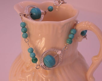 """The Sutton Hoo Bracelet in Vintage """"Neo-Turquoise"""" Beads"""