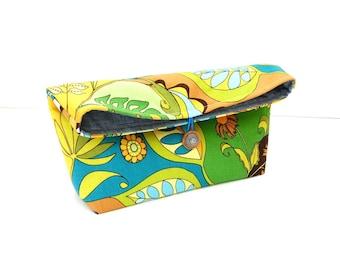 Fold over clutch purse, cotton handbag, button closure, Spring Summer bag