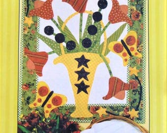 KATIE'S TULIPS Wall Quilt Pattern Pat Sloan Pieced Applique' Rare!