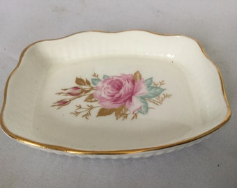 Royal Adderley pin dish , bone china , floral design , vintage collectables , floral decoration , pin tray , fluted design , bone china dish