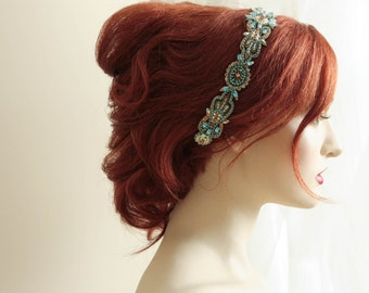 Art Deco Style Blues Headpiece (Made to order)