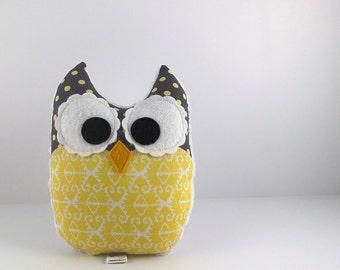 Plush Owl Mini Pillow Ikat Minky Softie Stuffed Toy Yellow Grey White
