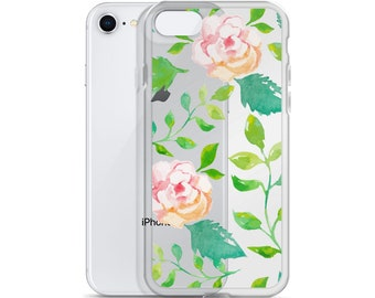 Watercolor Peony Phone Case, Floral iPhone Case, Flower Rose, Pink Pattern, iPhone 6 7 8 PLUS X Case,