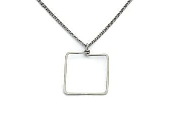 Square Titanium Necklace, Everyday Modern Square Window Shape Necklace, Hypoallergenic Niobium and Titanium No Nickel Geometric Necklace