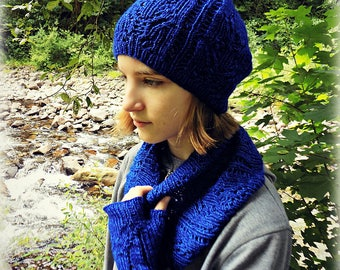 Lupine Knitted Fingerless Glove, Cowl and Hat Set Pattern Download
