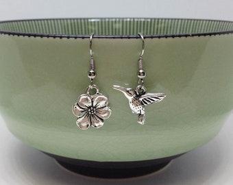 Hummingbird and Flower Unbalance Earrings