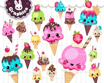 Ice Cream Cones Kawaii Clip Art