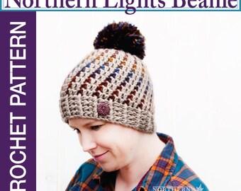Crochet Hat Pattern - Northern Lights Pom Pom Hat Crochet Pattern - Crochet Beanie Pattern - Adult Sizes