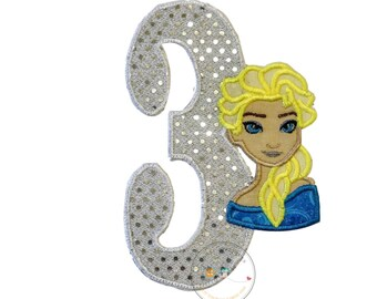 Sequin birthday number 3 with ice princess - iron embroidered fabric applique patch embellishment- ready to ship