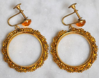 Amber Glass Seed Bead Hoop Earrings