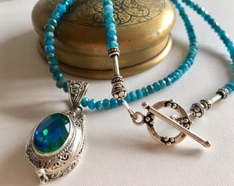 Apatite & Mystic Quartz Locket Pendant Necklace-Bali Silver Pendant