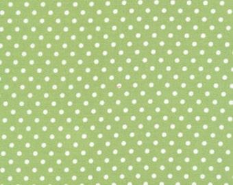 Tanya Whelan - Delilah - Delilah Dots in Green - green white polka dot cotton quilting fabric - HALF YARD cut