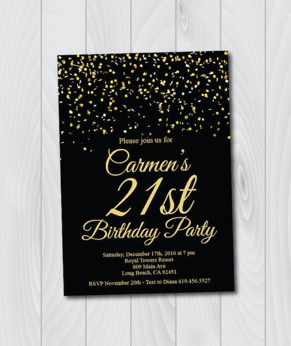21st Birthday InvitationPrintable Gold Black Birthday