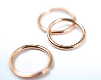 14K rose créoles or piercing helix boucle d'oreille cartilage piercing nez piercing tragus piercing multiples piercing cerceau minimaliste de cerceau sans fin
