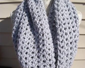 Crocheted Light Gray Hooded Cowl