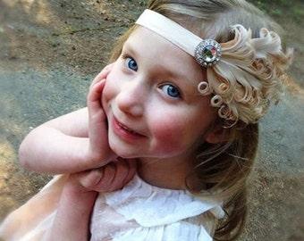 light Ivory  tan feather headband, baby headband, nagorie feather headband, toddler headband, adult headband