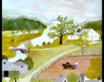 Grandma Moses, Grandma Moses Print, Country Decor, Primitive, Folk Art, Americana, Circa 1947, Vintage Book Page Print
