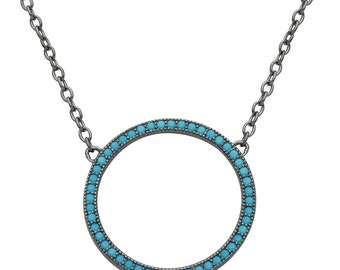 Open circle turquoise necklace