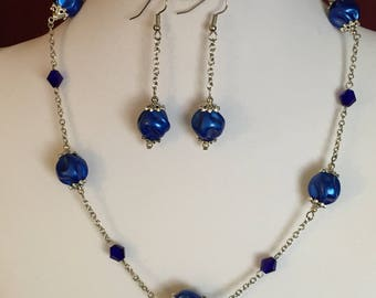 Royal Blue Necklace and Earring Set