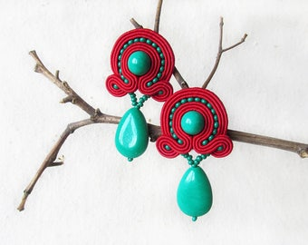 Gemstone earrings Green drop earrings Soutache earrings Red gift Gypsy earrings Bohemian gift Rockabilly earring Birthday gift for her