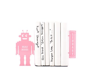 Childrens Bookends // Robots read too II Pink // Unique shelf decor for modern home // robot theme nursery // FREE SHIPPING