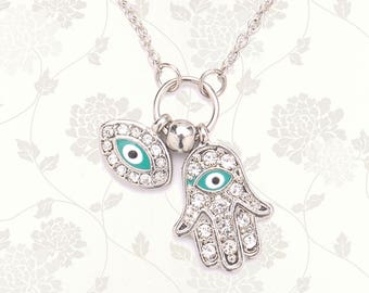Silver Hamsa Hand Necklace | Evil Eye Necklace | Hand of Fatima | Protection Necklace | Evil Eye Jewelry Jewellery | Turquoise & Rhinestone