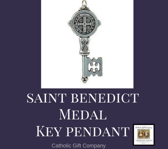 St Benedict Medal Key Pendant with 18 or 24 inch chain necklace