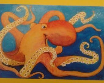 Octopus printed greeting card