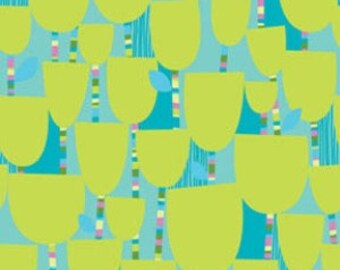 Summersault - Pixiestick Posies in Lime by Erin McMorris for Freespirit Fabrics