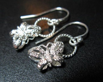Butterfly Earrings, Sterling Silver Earrings, Sterling Silver Butterflies, Butterfly Jewelry, Butterfly Charm, Sterling Silver Jewelry