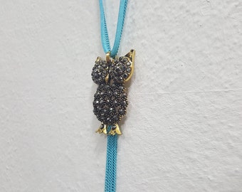 Cute owl necklace for women fashion jewelry faux diamonds