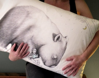 SECOND: Wombat pillowcase with boy, facing right. Illustrated pillowslip. Australian Gift with original art by flossy-p.
